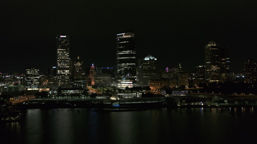5.7K stock footage aerial video orbit lakefront museum and skyline at night, Downtown Milwaukee, Wisconsin Aerial Stock Footage | DX0002_157_014