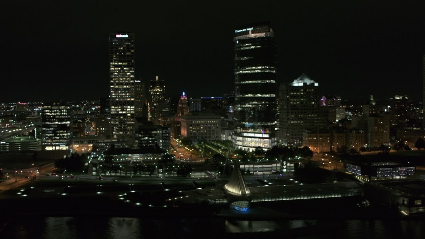 5.7K stock footage aerial video stationary view of two skyscrapers at night, Downtown Milwaukee, Wisconsin Aerial Stock Footage | DX0002_157_025