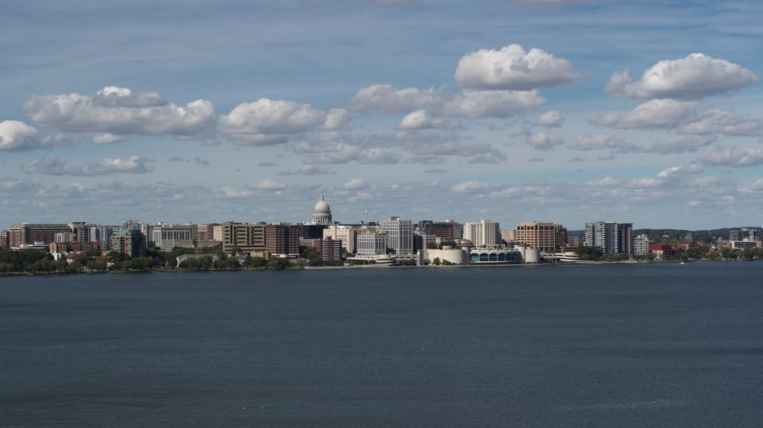 5.7K stock footage aerial video a wide view of the city from Lake Monona, Madison, Wisconsin Aerial Stock Footage | DX0002_158_001