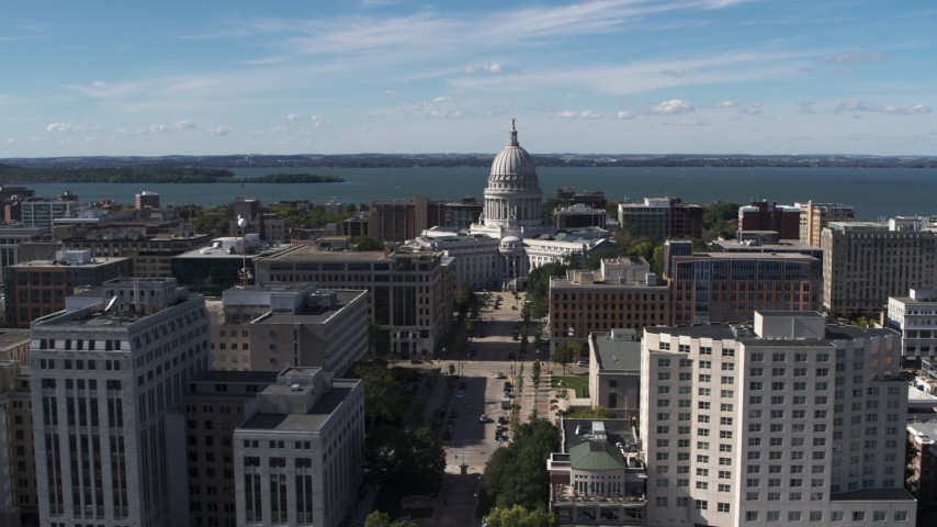5.7K stock footage aerial video of the capitol dome and office buildings, Madison, Wisconsin Aerial Stock Footage | DX0002_158_024