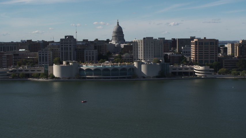 5.7K stock footage aerial video flyby convention center with capitol and office buildings in background, Madison, Wisconsin Aerial Stock Footage | DX0002_160_007
