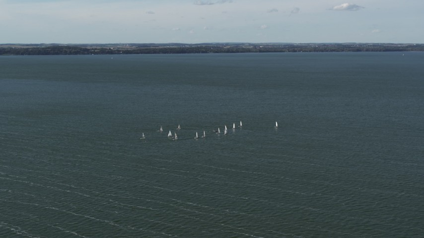 5.7K stock footage aerial video of sailboats on Lake Mendota, Madison, Wisconsin Aerial Stock Footage | DX0002_160_033