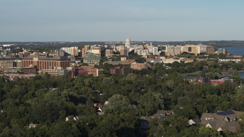 5.7K stock footage aerial video a view of the capitol dome from a residential neighborhood, Madison, Wisconsin Aerial Stock Footage | DX0002_161_001