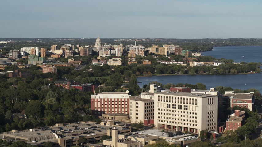 5.7K stock footage aerial video wide view of the capitol dome and downtown seen from hospital, Madison, Wisconsin Aerial Stock Footage | DX0002_161_008