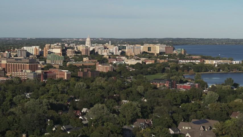 5.7K stock footage aerial video wide view of the capitol dome and downtown, Madison, Wisconsin Aerial Stock Footage | DX0002_161_009