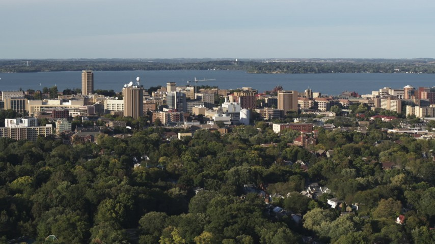 5.7K stock footage aerial video of a wide orbit of the lakeside university campus, Madison, Wisconsin Aerial Stock Footage | DX0002_161_016