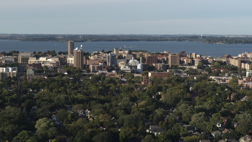 5.7K stock footage aerial video of approaching the lakeside university campus, Madison, Wisconsin Aerial Stock Footage | DX0002_161_017