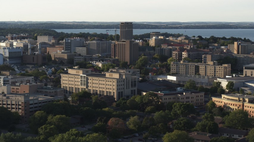 5.7K stock footage aerial video of university campus buildings, Madison, Wisconsin Aerial Stock Footage | DX0002_161_024