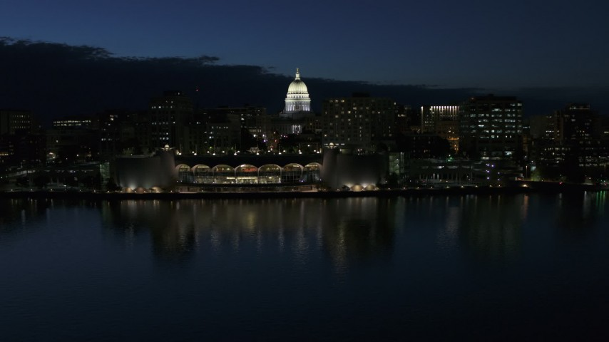 5.7K stock footage aerial video orbit capitol dome and reveal the convention center at twilight, Madison, Wisconsin Aerial Stock Footage | DX0002_162_025