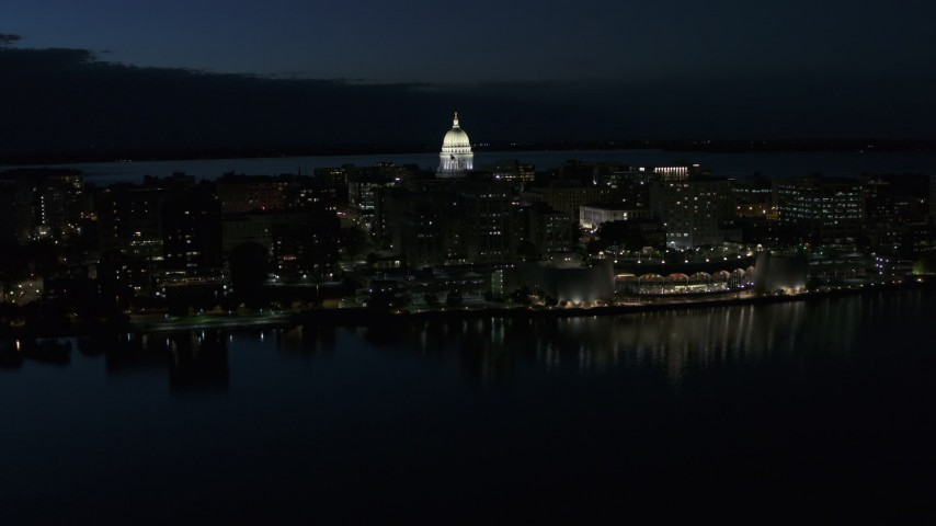 5.7K stock footage aerial video ascend and orbit capitol dome and convention center at twilight, Madison, Wisconsin Aerial Stock Footage | DX0002_162_026