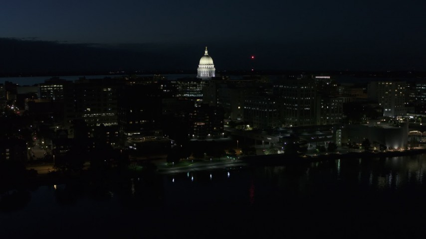 5.7K stock footage aerial video a view of capitol dome from the lake at twilight, Madison, Wisconsin Aerial Stock Footage | DX0002_162_027