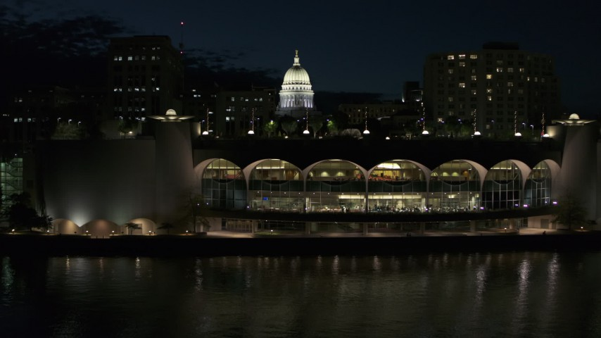 5.7K stock footage aerial video fly over the convention center and orbit capitol at night, Madison, Wisconsin Aerial Stock Footage | DX0002_162_040