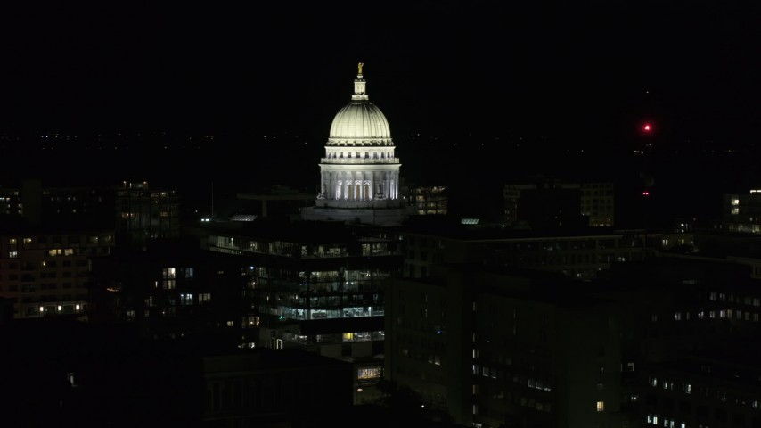 5.7K stock footage aerial video orbiting the capital dome at night, Madison, Wisconsin Aerial Stock Footage | DX0002_162_042