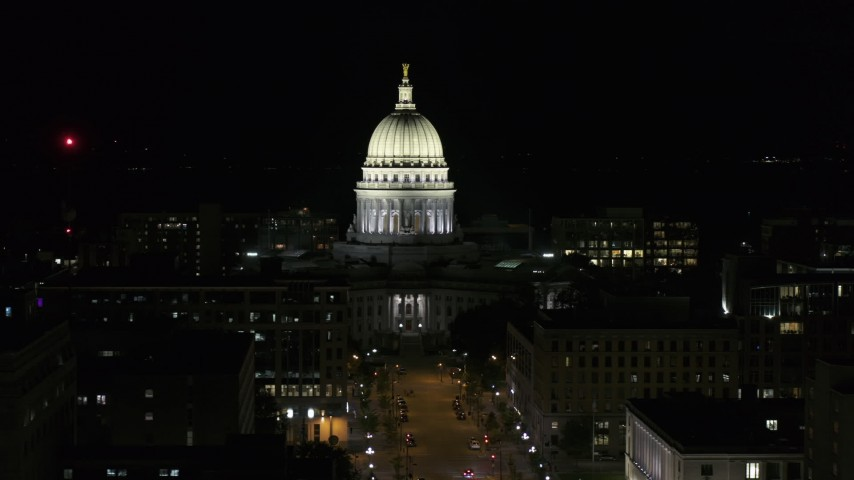 5.7K stock footage aerial video of circling the capital dome at night, Madison, Wisconsin Aerial Stock Footage | DX0002_162_044