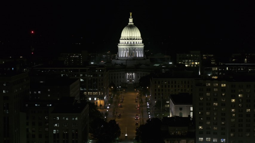 5.7K stock footage aerial video a stationary view of the capital building at night, Madison, Wisconsin Aerial Stock Footage | DX0002_162_051