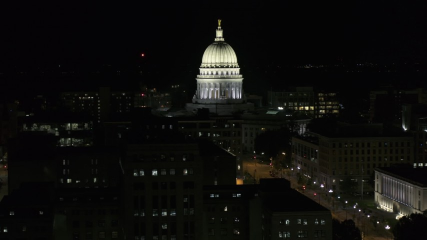 5.7K stock footage aerial video slowly orbit the capital building at night, Madison, Wisconsin Aerial Stock Footage | DX0002_162_052