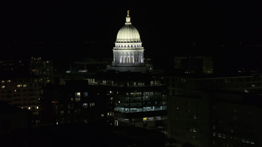 5.7K stock footage aerial video slowly orbit the dome of the capital building at night, Madison, Wisconsin Aerial Stock Footage | DX0002_162_053