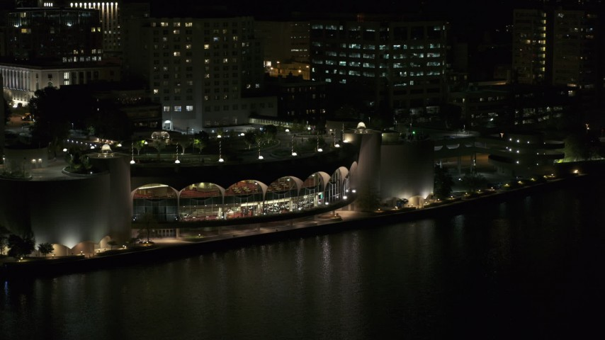 5.7K stock footage aerial video orbit and approach the convention center at night, Madison, Wisconsin Aerial Stock Footage | DX0002_162_058