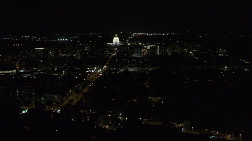 5.7K stock footage aerial video flyby Washington Avenue while focused on capitol at night, Madison, Wisconsin Aerial Stock Footage | DX0002_163_002