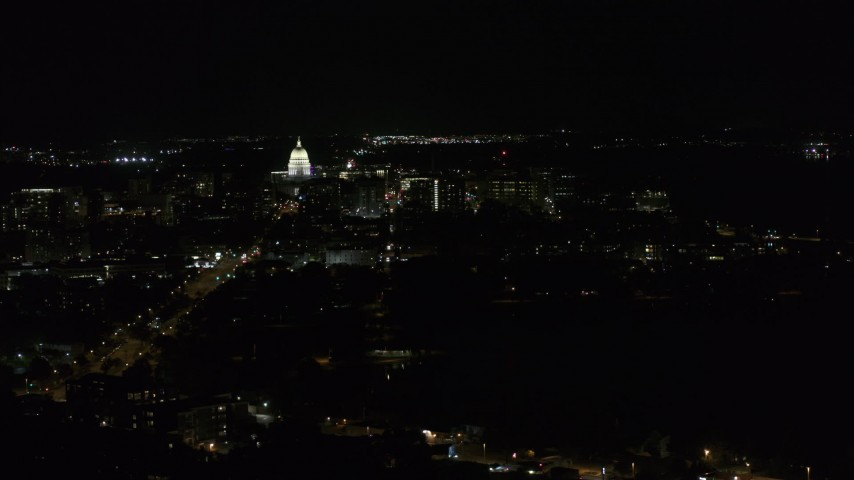 5.7K stock footage aerial video wide view of capitol at night, reveal Washington Avenue, Madison, Wisconsin Aerial Stock Footage | DX0002_163_003