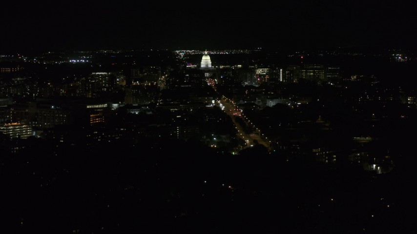 5.7K stock footage aerial video view of capitol at night while passing Washington Avenue, Madison, Wisconsin Aerial Stock Footage | DX0002_163_004