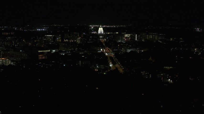 5.7K stock footage aerial video wide orbit of capitol at night, reveal Washington Avenue, Madison, Wisconsin Aerial Stock Footage | DX0002_163_005