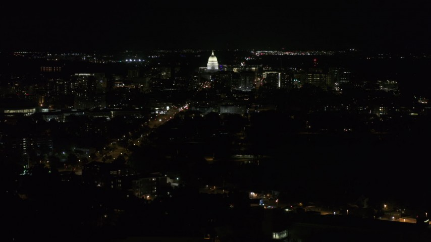 5.7K stock footage aerial video wide orbit of Wisconsin State Capitol at night, Madison, Wisconsin Aerial Stock Footage | DX0002_163_006