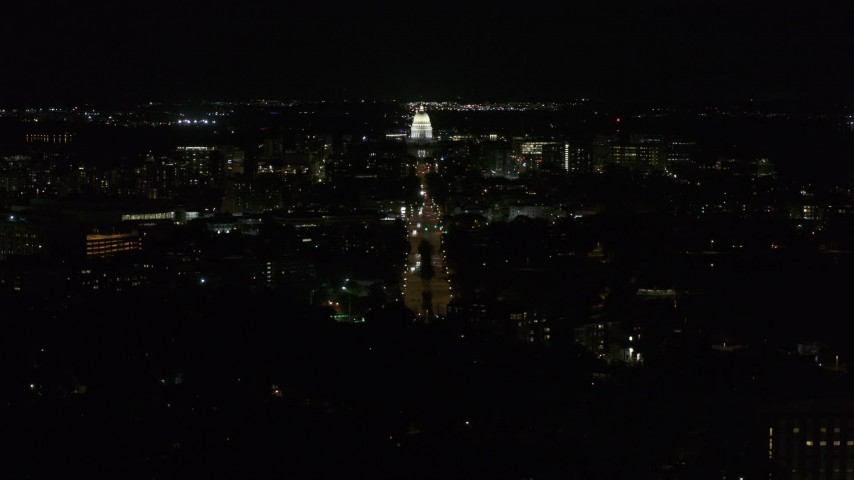 5.7K stock footage aerial video wide orbit of Wisconsin State Capitol seen from Washington Ave at night, Madison, Wisconsin Aerial Stock Footage | DX0002_163_008