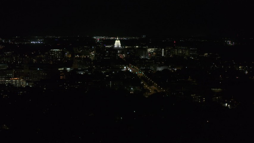 5.7K stock footage aerial video slowly orbit of Wisconsin State Capitol, seen from Washington Ave at night, Madison, Wisconsin Aerial Stock Footage | DX0002_163_009