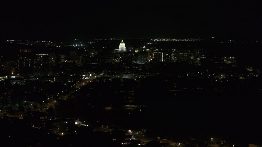 5.7K stock footage aerial video of the state capitol at the end of Washington Ave at night, Madison, Wisconsin Aerial Stock Footage | DX0002_163_011