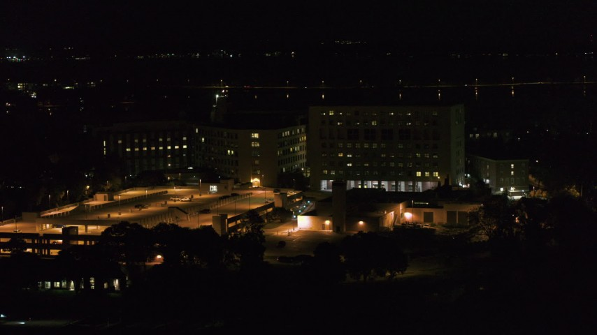 5.7K stock footage aerial video of orbiting hospital at night, Madison, Wisconsin Aerial Stock Footage   DX0002_163_016