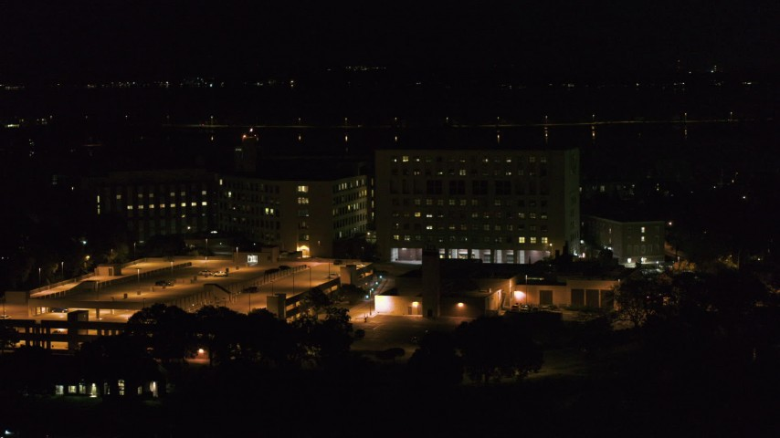 5.7K stock footage aerial video of an orbit of a hospital at night, Madison, Wisconsin Aerial Stock Footage   DX0002_163_017