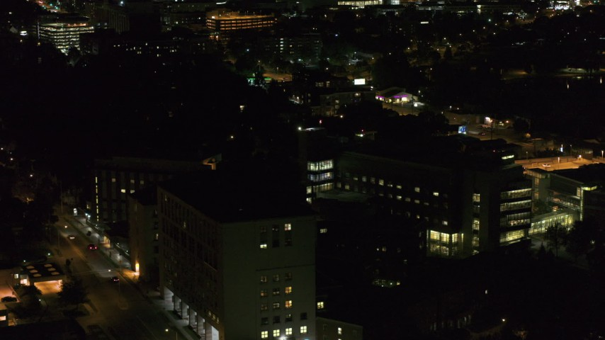 5.7K stock footage aerial video of a hospital complex at night, Madison, Wisconsin Aerial Stock Footage | DX0002_163_019