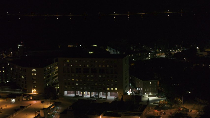 5.7K stock footage aerial video orbit part of a hospital complex at night, Madison, Wisconsin Aerial Stock Footage | DX0002_163_022