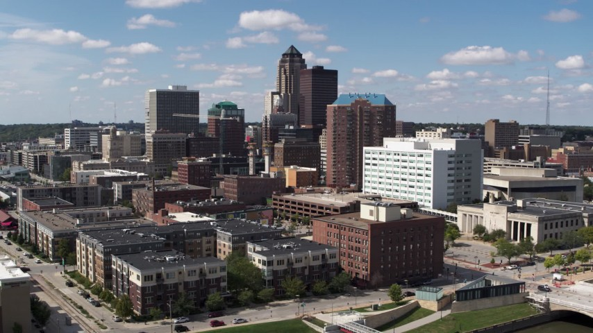 5.7K stock footage aerial video the city's skyline seen from office buildings in Downtown Des Moines, Iowa Aerial Stock Footage | DX0002_165_001
