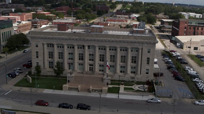 5.7K stock footage aerial video an orbit of the Des Moines Police Department building in Des Moines, Iowa Aerial Stock Footage | DX0002_165_008