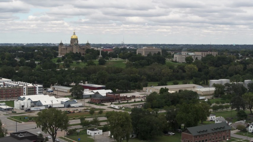 5.7K stock footage aerial video wide view of the Iowa State Capitol and grounds in Des Moines, Iowa Aerial Stock Footage | DX0002_165_023