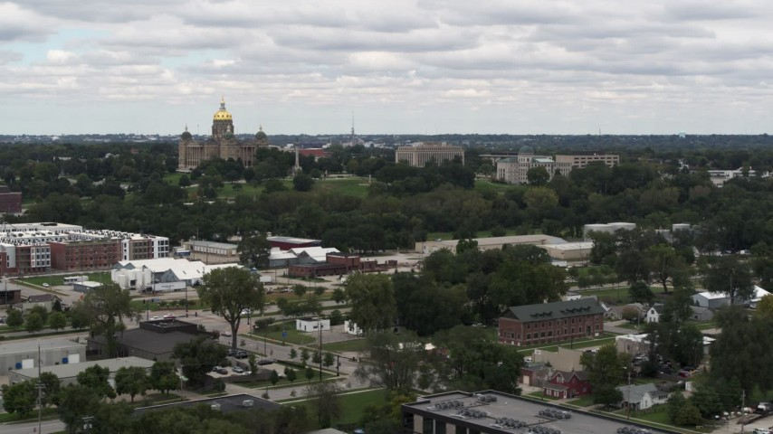 5.7K stock footage aerial video of flying away from and by the Iowa State Capitol and grounds in Des Moines, Iowa Aerial Stock Footage | DX0002_165_024