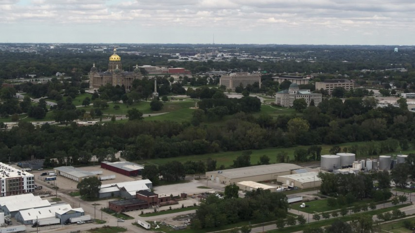 5.7K stock footage aerial video of slowly passing the Iowa State Capitol and grounds in Des Moines, Iowa Aerial Stock Footage | DX0002_165_027