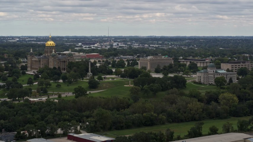 5.7K stock footage aerial video of grounds and buildings around the Iowa State Capitol in Des Moines, Iowa Aerial Stock Footage | DX0002_165_037