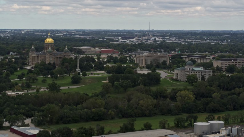 5.7K stock footage aerial video ascend to flyby the Iowa State Capitol and grounds in Des Moines, Iowa Aerial Stock Footage | DX0002_165_039