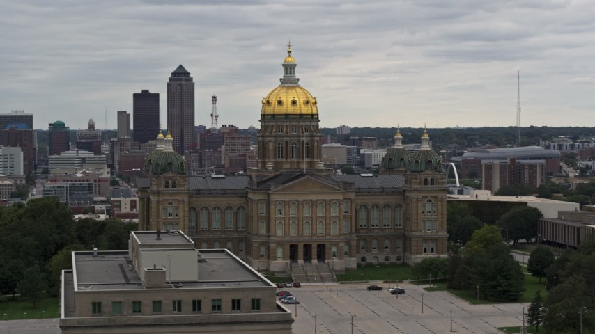 5.7K stock footage aerial video of circling the Iowa State Capitol in Des Moines, Iowa Aerial Stock Footage | DX0002_165_043