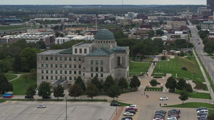5.7K stock footage aerial video orbit the side of the Iowa Court of Appeals in Des Moines, Iowa Aerial Stock Footage | DX0002_166_004