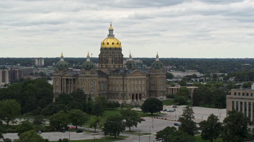 5.7K stock footage aerial video of an orbit around the Iowa State Capitol in Des Moines, Iowa Aerial Stock Footage   DX0002_166_009