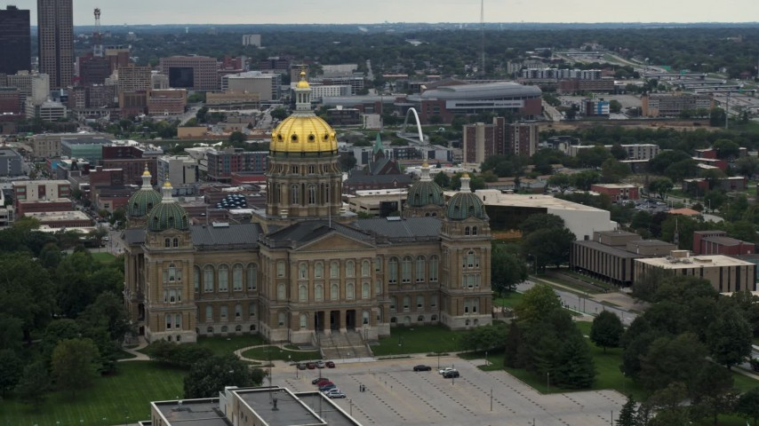 5.7K stock footage aerial video orbit the front of the Iowa State Capitol with the city in the background, Des Moines, Iowa Aerial Stock Footage | DX0002_166_011