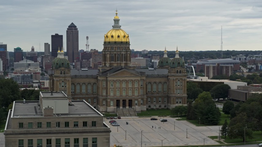 5.7K stock footage aerial video orbiting the front of the Iowa State Capitol, skyline in the background, Des Moines, Iowa Aerial Stock Footage | DX0002_166_012