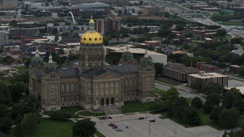 5.7K stock footage aerial video a stationary view of the Iowa State Capitol, Des Moines, Iowa Aerial Stock Footage | DX0002_166_015
