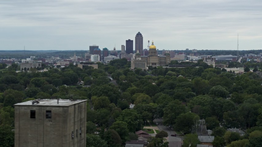 5.7K stock footage aerial video of a wide view of the city's skyline and state capitol, Downtown Des Moines, Iowa Aerial Stock Footage | DX0002_166_018