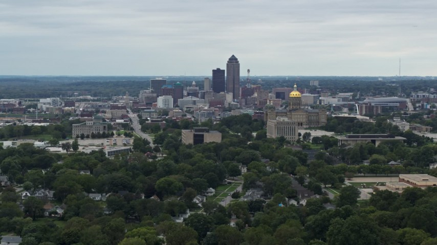 5.7K stock footage aerial video of the city's skyline behind the state capitol, Downtown Des Moines, Iowa Aerial Stock Footage | DX0002_166_020