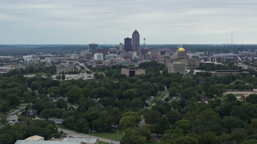 5.7K stock footage aerial video of the state capitol and the skyline of Downtown Des Moines, Iowa Aerial Stock Footage | DX0002_166_021